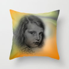 the little girl - vintage -2- Throw Pillow