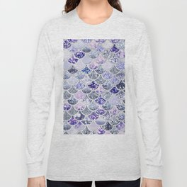 Purple and Ultra Violet Trendy Glitter Mermaid Scales Long Sleeve T-shirt