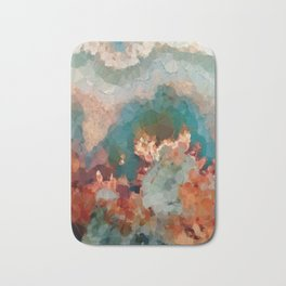 Turquoise Copper Agate Low Poly Geometric Triangles Bath Mat