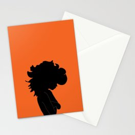 Wild Hair / Orange Black Illustration Stationery Cards