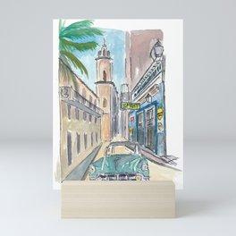 Bodeguita del Medio Havana with Old_Car Empedrado Mini Art Print