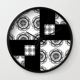 Black and White Rounded Mandala Patch Textile Wall Clock