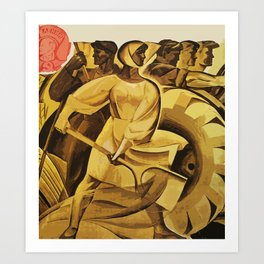 bread for us cccp sssr soviet union political propaganda revolution poster  Art Print