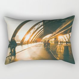Biking in Amsterdam, Morning, Dutch Lifestyle Rectangular Pillow