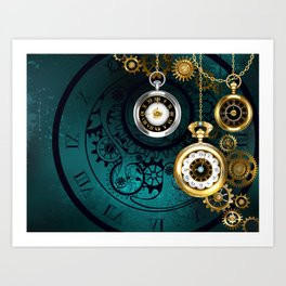 Clock with Gears on Green Background ( Steampunk ) Art Print