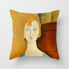 "Amedeo Modigliani ""Girl in a green blouse"" Throw Pillow"