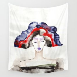 Margot With a Purple Lipstick Wall Tapestry