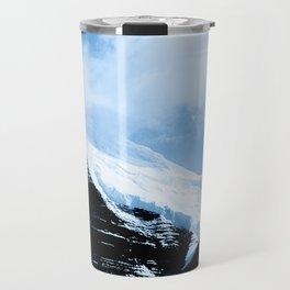 Dramatic Glacier Mountaintop Snow Framed By Billowy Clouds Travel Mug