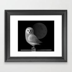 Barn Owl Full Moon Framed Art Print