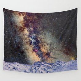 The star Antares, Scorpius and Sagitariuss over the hight mountains. The milky way. Wall Tapestry