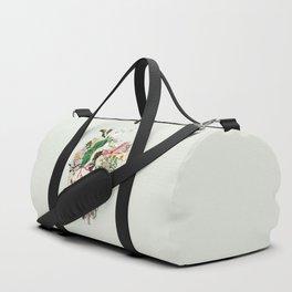 Vintage Botanical Heart On Green Duffle Bag