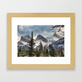 The Three Sisters - Canadian Rocky Mountains Framed Art Print