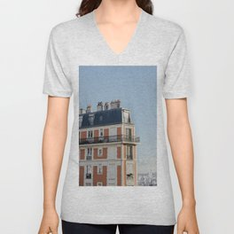 Pretty architecture in Paris, France | Parisian facade and balcony, streets | Montmartre area | Art Deco style | Travel photography  Unisex V-Neck