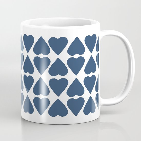 Diamond Hearts Repeat Navy Mug