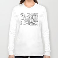 new york map Long Sleeve T-shirts featuring New York City Map by Claire Lordon