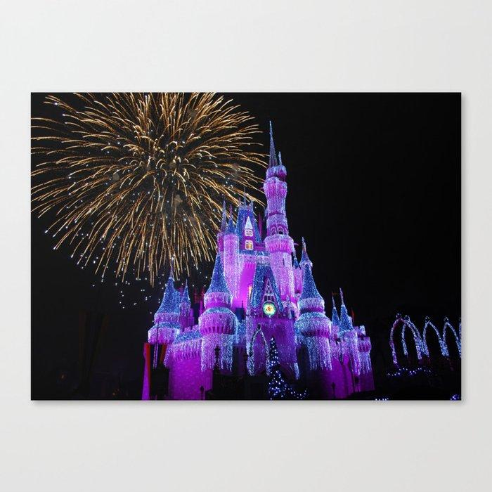 Disney Magic Kingdom Fireworks at Christmas - Cinderella Castle Canvas Print
