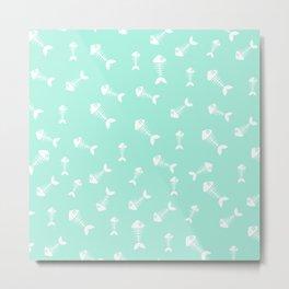 Seafoam blue and white fishbone pattern Metal Print