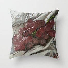 Oil paint on canvas still life painting of grapes on fabric cloth drape contrast fruit  Throw Pillow