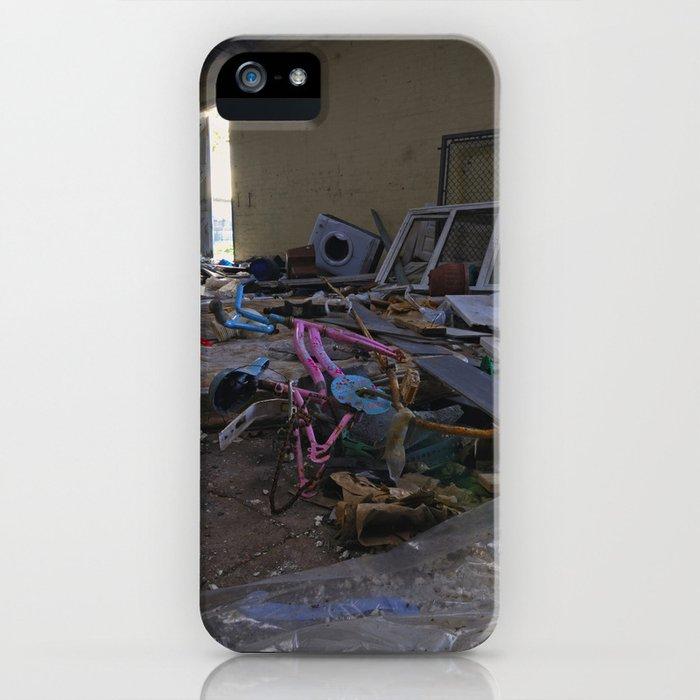 broken pink bike in a pile of rubbish iPhone Case