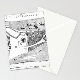Historical Map of New York City (1664) BW Stationery Cards