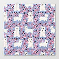 Westie cherry blossoms west highland terrier cutest fluffy white dog breed pattern art Canvas Print