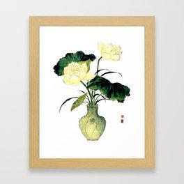 An elegant lotus in a celadon porcelain vase of Chinese ink painting Framed Art Print