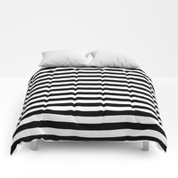 Comforters featuring Modern Black White Stripes Monochrome Pattern by Girly Road