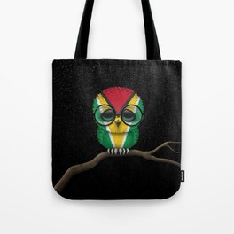 Baby Owl with Glasses and Guyanese Flag Tote Bag