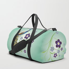 Peacock with flowers Duffle Bag