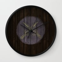 skyrim Wall Clocks featuring Shield's of Skyrim - Riften  by VineDesign