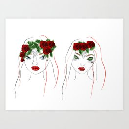 christmas girls Art Print