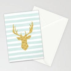 Gold Deer on Mint Watercolor Stripes Stationery Cards