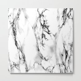 White-Black Marble Impress Metal Print