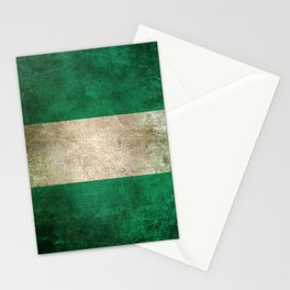 Old and Worn Distressed Vintage Flag of Nigeria Stationery Cards