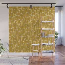 Old Gold and Cream Retro Geometric Shapes Pattern Wall Mural