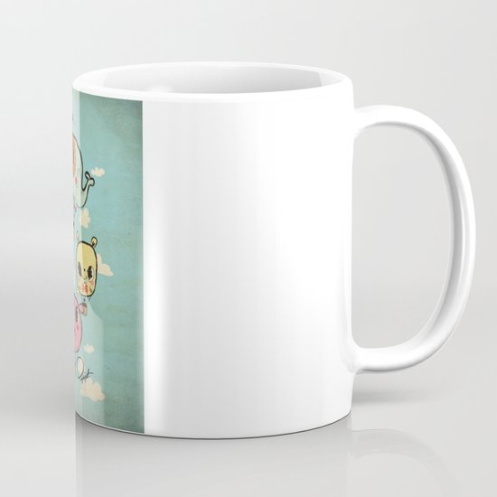 Happy Flight / The Animals Hot Air Balloon Voyagers / Patterns / Clouds Mug
