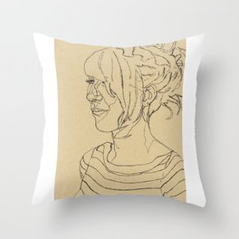 Fran Line Drawing Throw Pillow