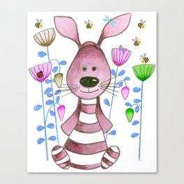 Nursery Wabbit Pink Canvas Print