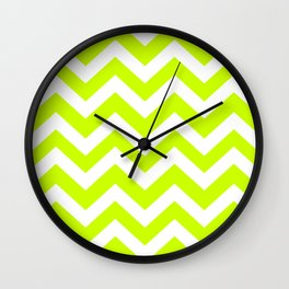 Electric lime - green color - Zigzag Chevron Pattern Wall Clock