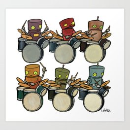 Robot - Drummers Art Print