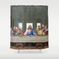 da vinci Shower Curtains featuring The Last Supper by Leonardo da Vinci by Palazzo Art Gallery