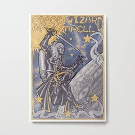 Space Wizard McKcarell, inspired from Mucha Metal Print