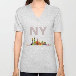NY-New York Skyline HQ Unisex V-Neck
