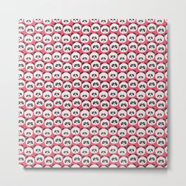 Pink Panda Faces Pattern Metal Print