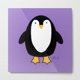 Pretty Penguin pretty in purple Metal Print