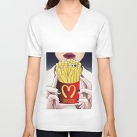 french fries V-neck T-shirts featuring I LOVE FRENCH FRIES by Analy Diego