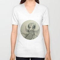 flight V-neck T-shirts featuring Flight by Ma. Luisa Gonzaga