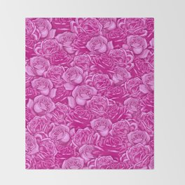 Too Many Pink Roses Throw Blanket