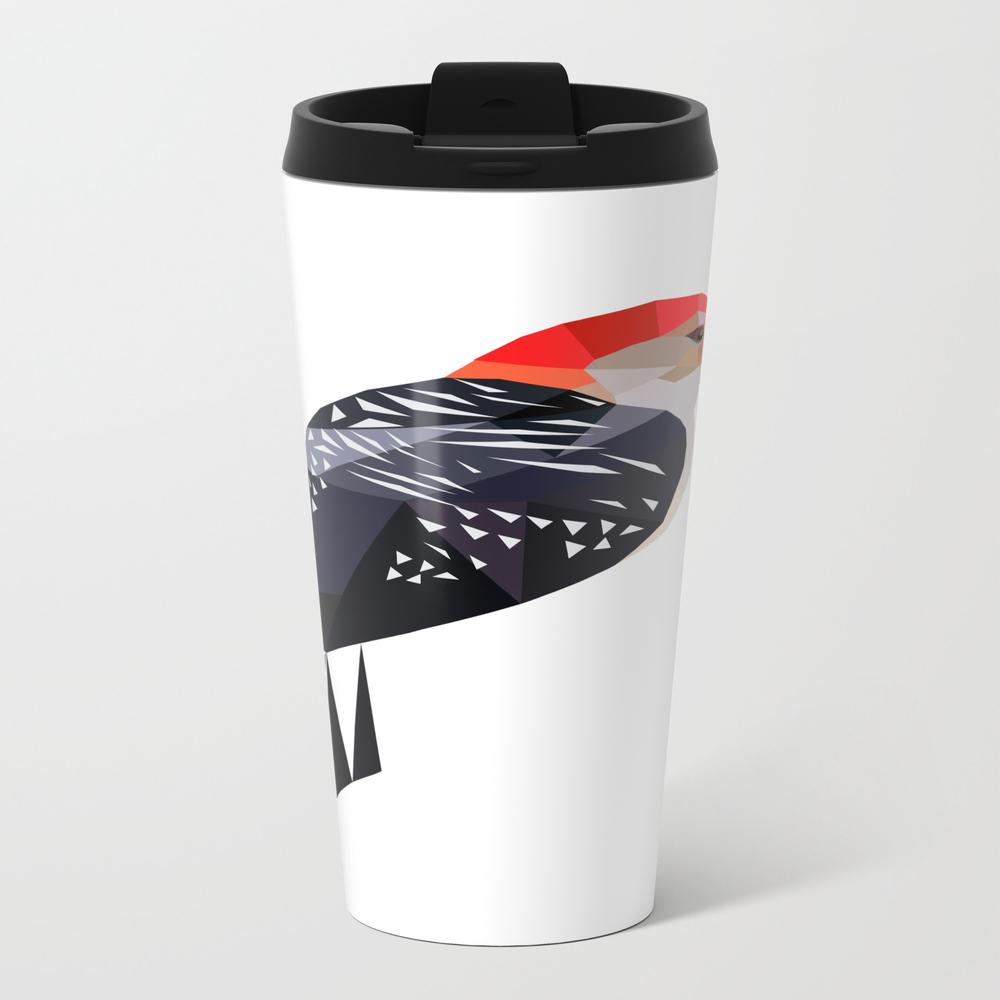 Woodpecker Bird Art Black And Red Geometric Travel Cup TRM8870709