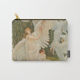 Swans and the Maidens angelic garden landscape painting by Walter Crane  Carry-All Pouch